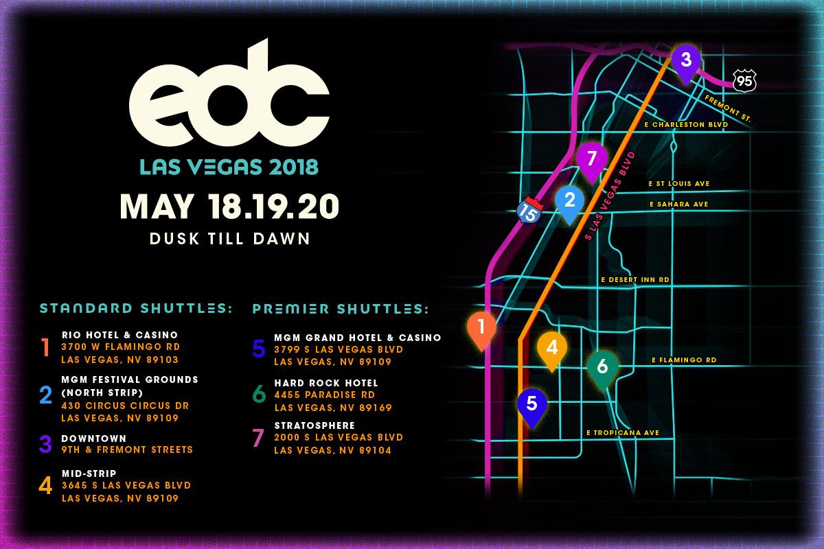 Details Announced for EDC Las Vegas 2018 Shuttles | Insomniac
