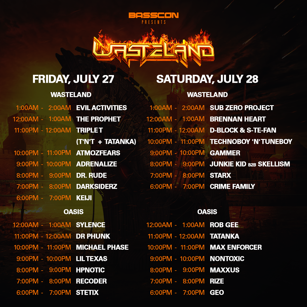 Wasteland Set Times