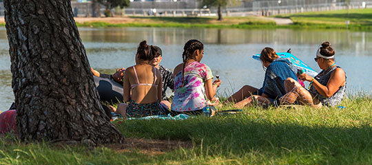 Headliners relaxing by the lake