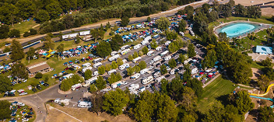 An aerial view of the campground