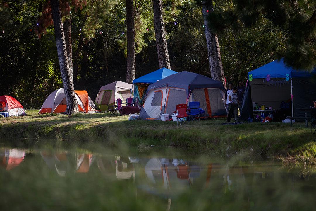 Tents set up near the lake