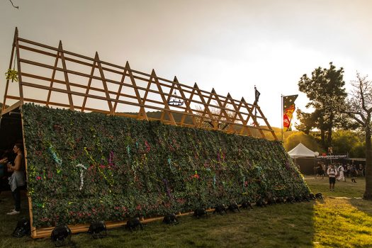 A vine-covered art installation