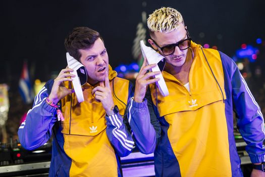 Dillon Francis and DJ Snake pretend sandals are phones