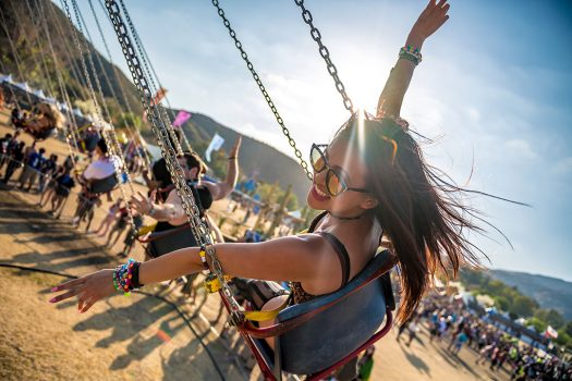 A girl on the swing ride