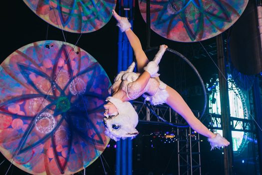 An aerialist performing