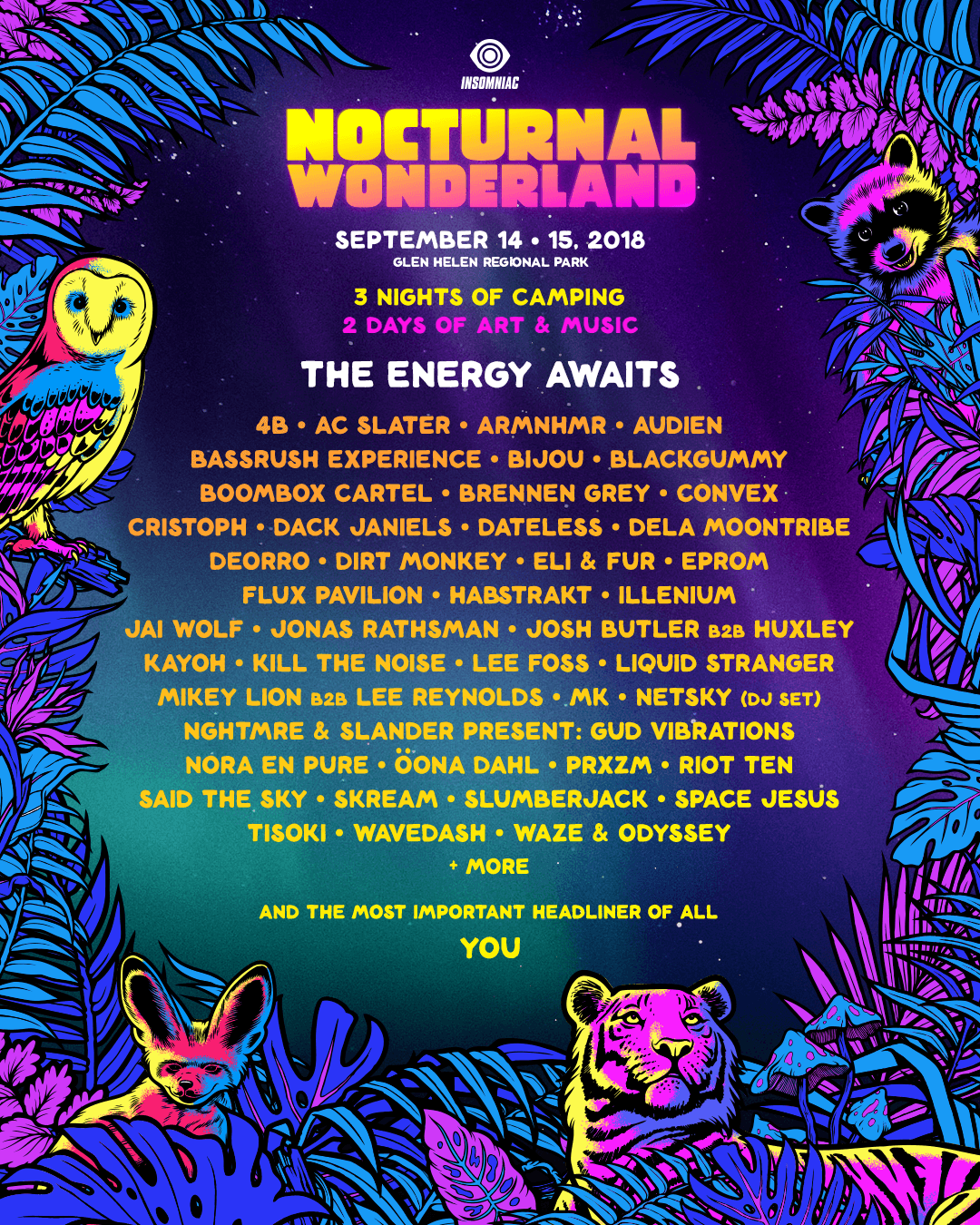 Nocturnal Wonderland 2018 Lineup