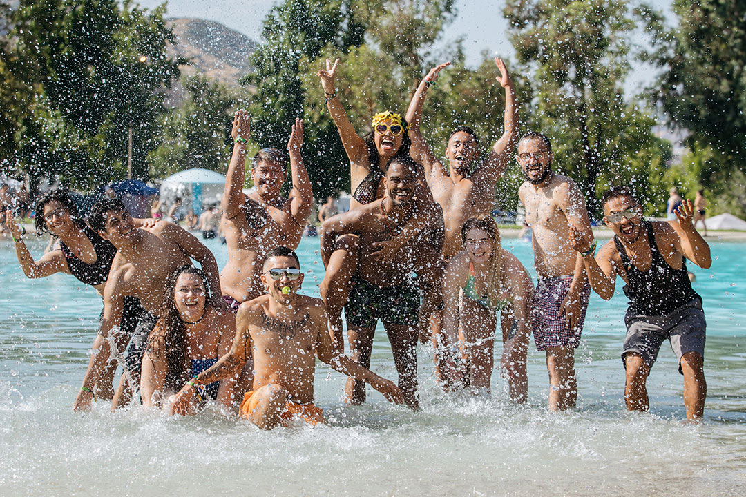 Campers splash in the water park