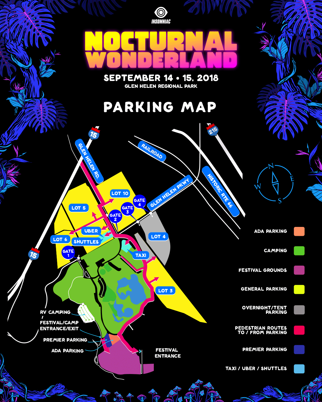 Nocturnal Wonderland 2018 Parking Map