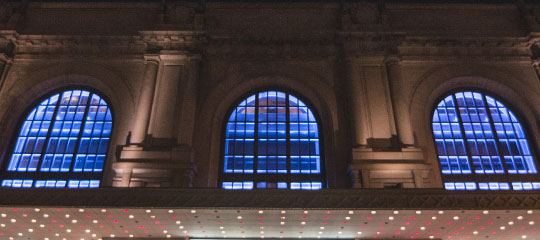 Exterior windows of Bill Graham Civic Auditorium
