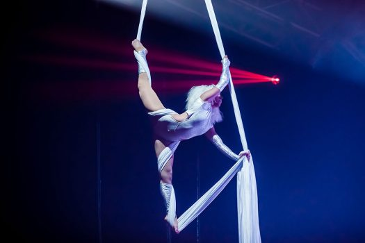 An aerialist performs on silk