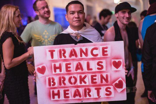 """""""Trance heals broken hearts"""" sign"""