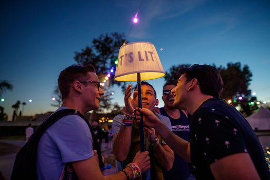 "Headliners with an ""It's Lit"" lamp totem"