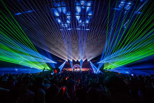 Lasers shooting out from the stage
