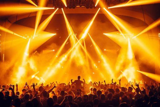 Orange lights over the crowd