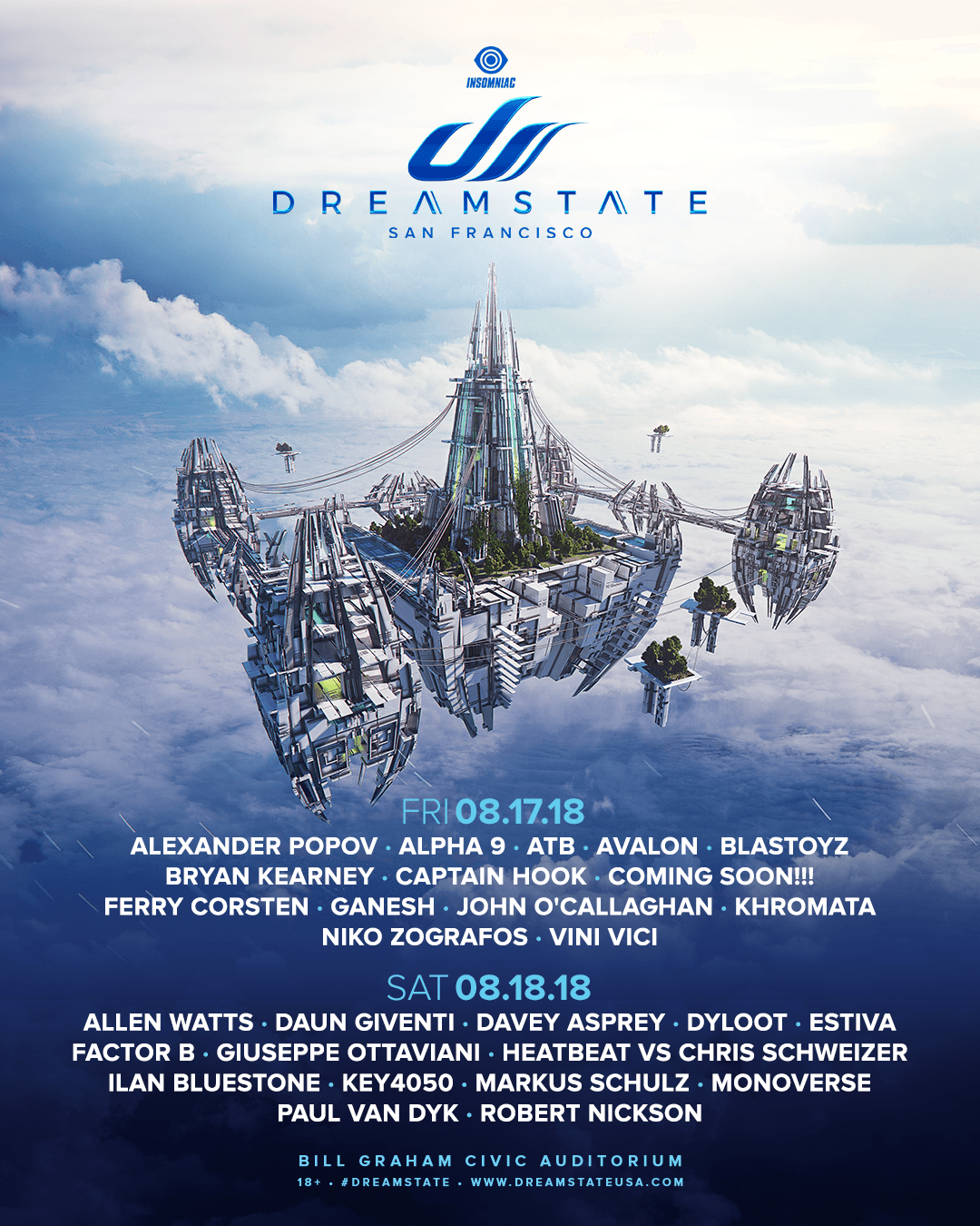 Dreamstate SF Lineup By Day