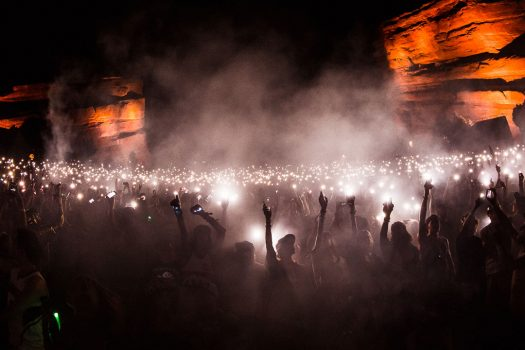 Fans light up the night with their phones
