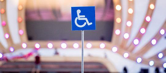 """A """"handicap"""" symbol totem"""