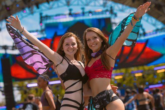 Two girls in butterfly wings