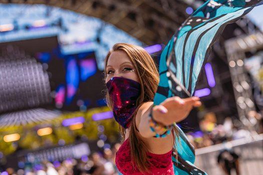 A girl in butterfly wings