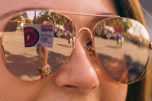 Closeup of a woman's sunglasses