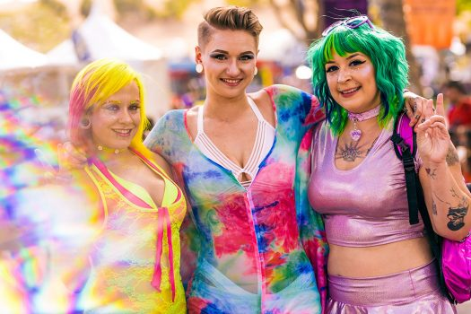 Women in colorful outfits