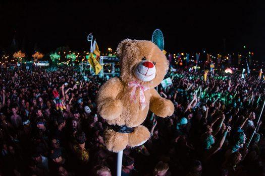 A stuffed bear totem