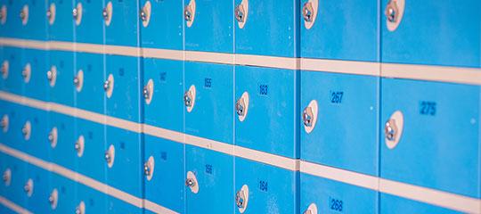 Rows of blue lockers