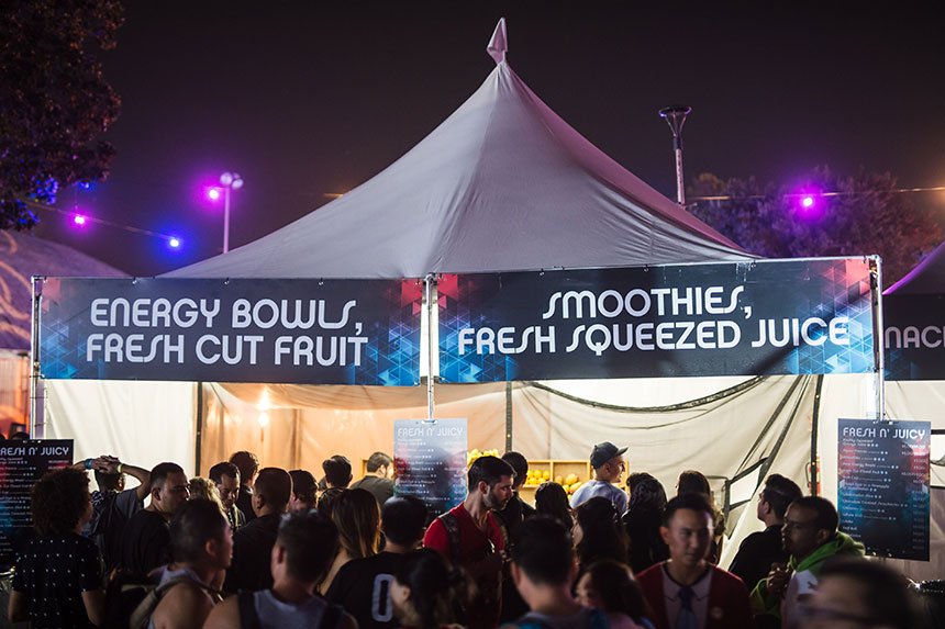 Tent selling energy bowls and smoothies