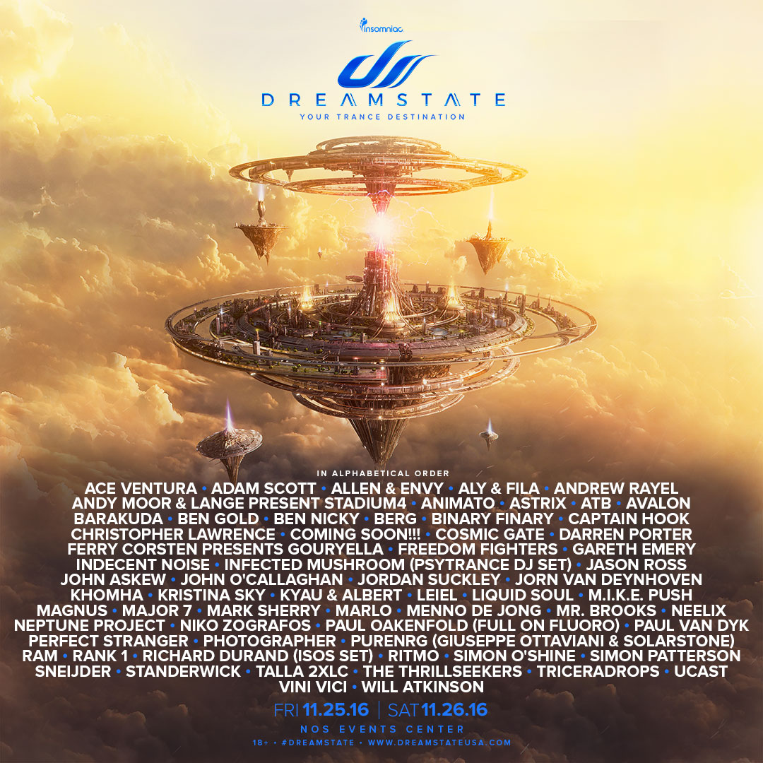 Dreamstate SoCal 2016 lineup
