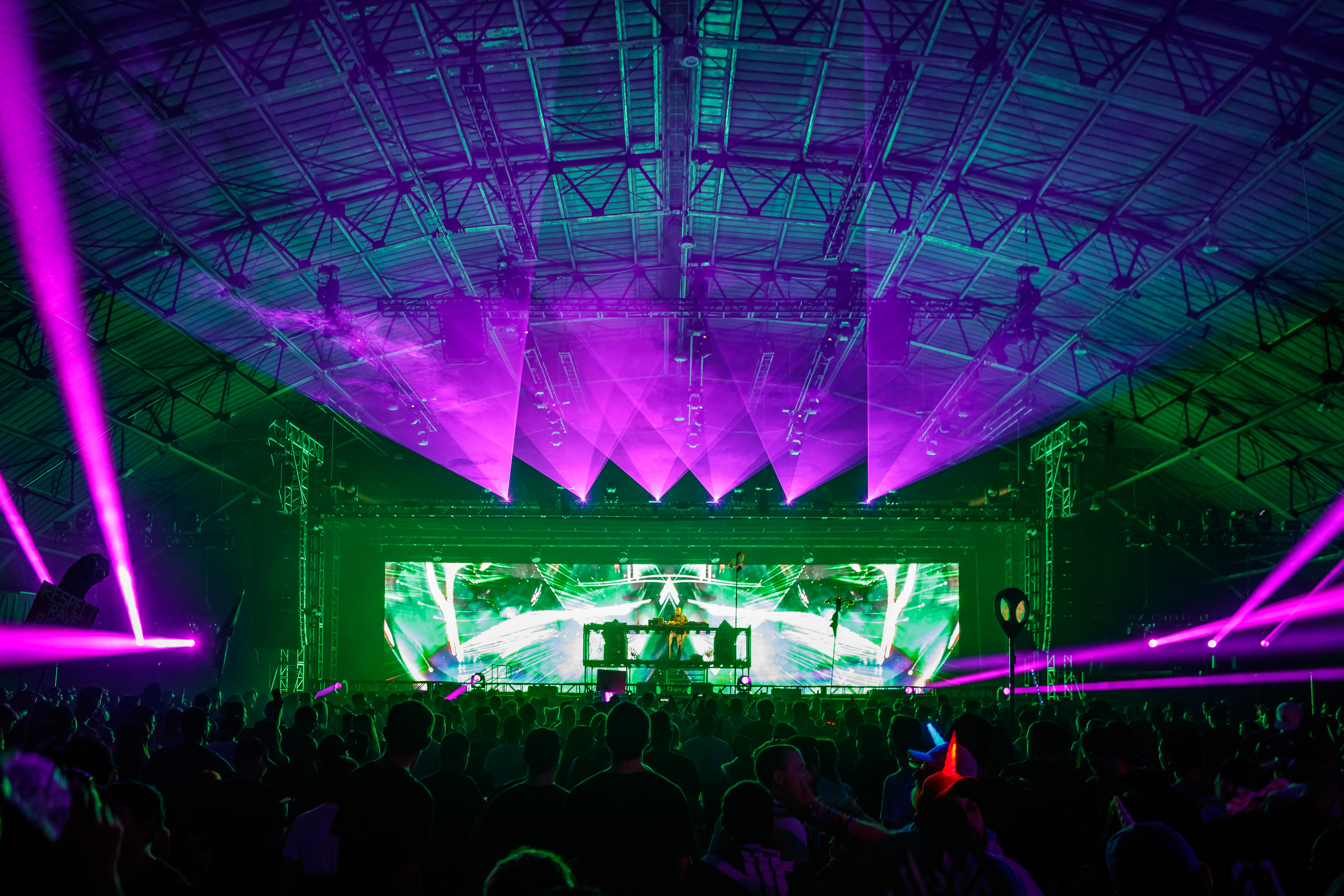 Purple lasers and green lights