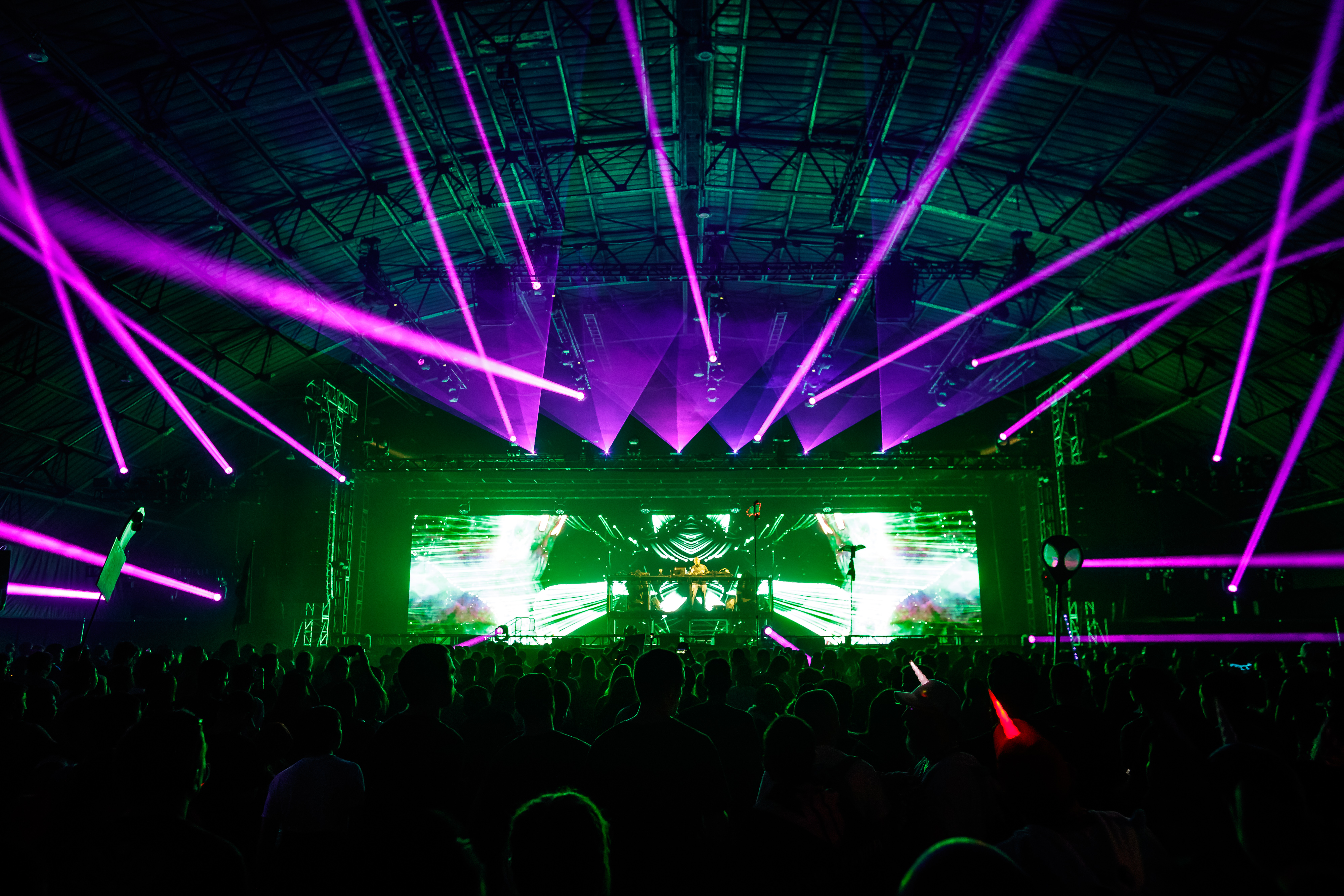 Purple lasers and video effects