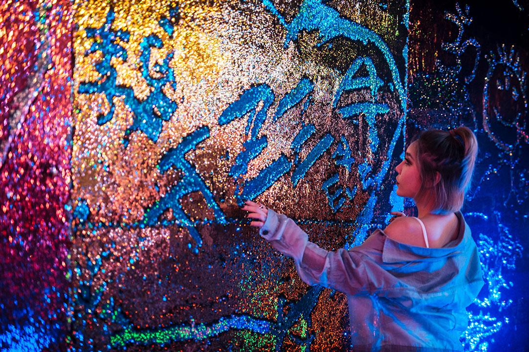 interactive glitter wall