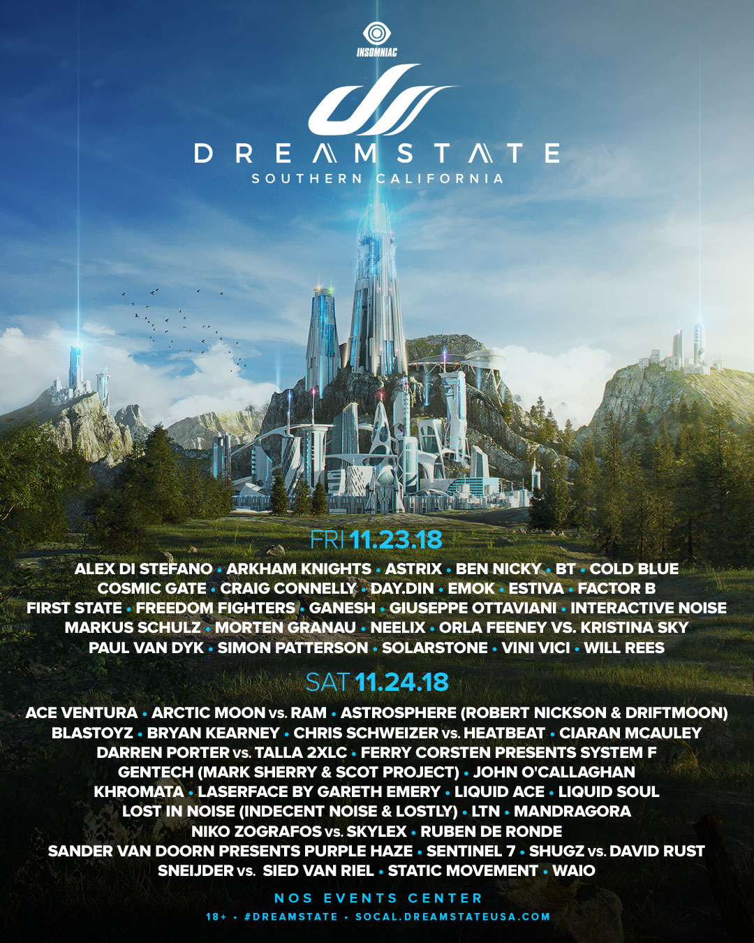 Dreamstate SoCal 2018 lineup by day
