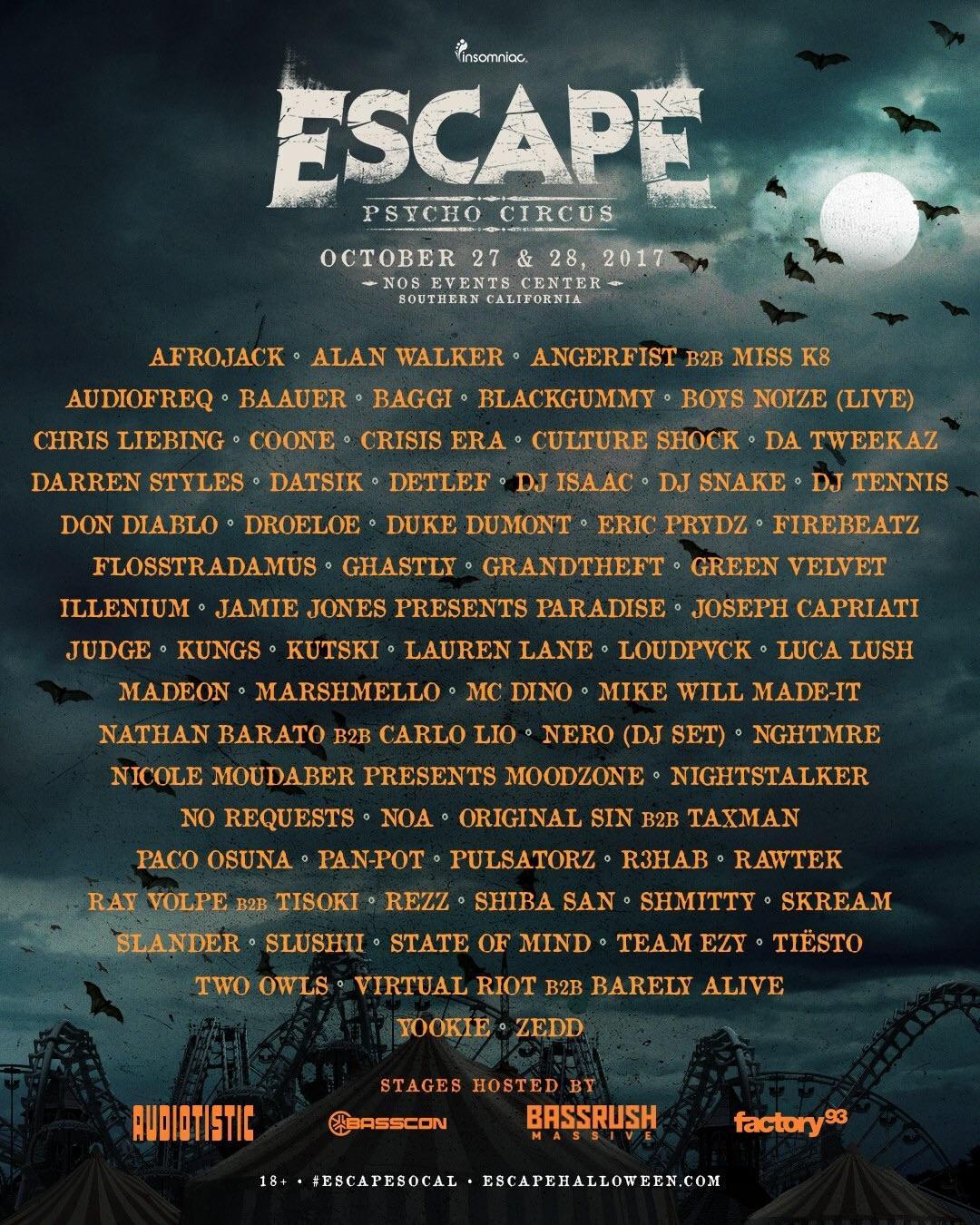 Escape 2017 lineup