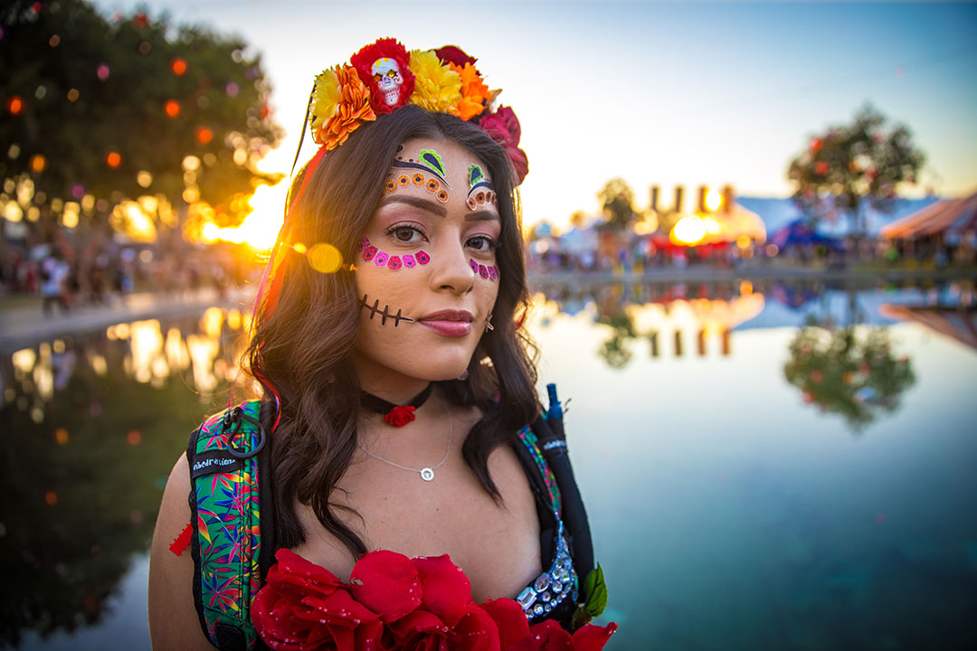A woman in Day of the Dead makeup