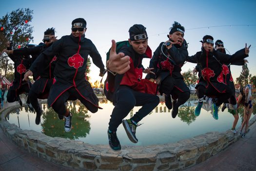 A group of ninjas jumping