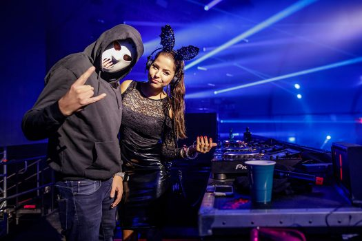DJs in a hockey mask and bunny ears