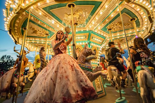 A bloody performer on the carousel