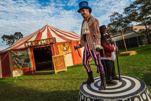 Performers welcome you to the Circus Side Show