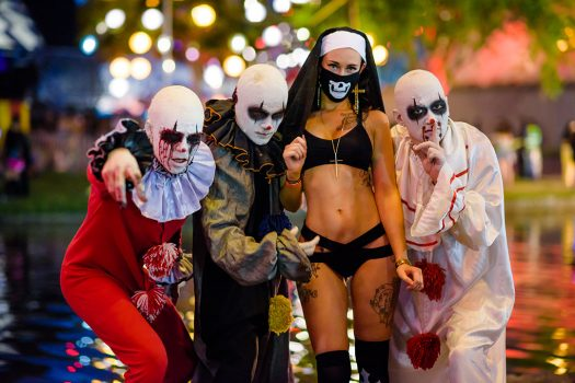 Creepy clowns with a sexy nun