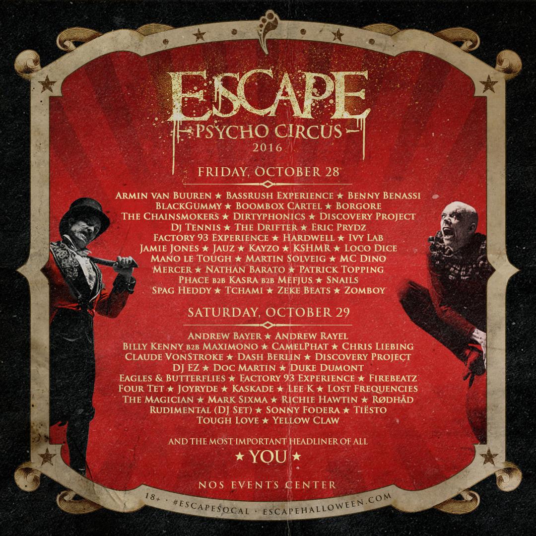 Escape 2016 lineup