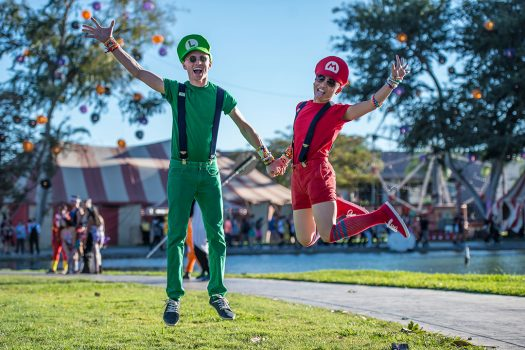 Two Headliners dressed as Super Mario Brothers