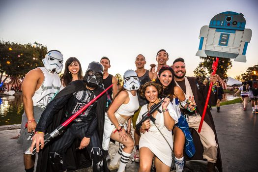 Headliners in Star Wars–themed costumes