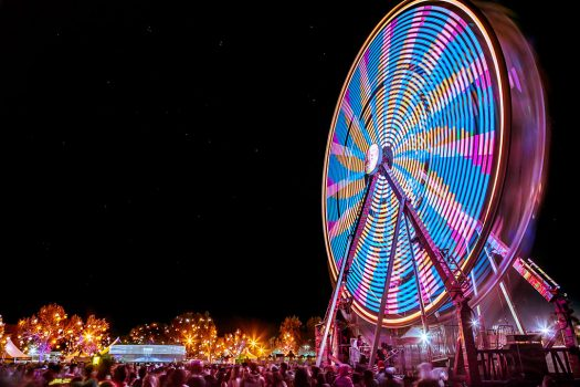A glowing Ferris wheel