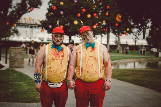 Two Headliners dressed as Tweedle Dee & Tweedle Dum