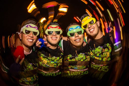 Headliners in Ninja Turtle costumes