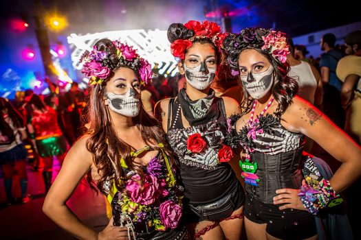 Headliners in Day of the Dead–inspired makeup