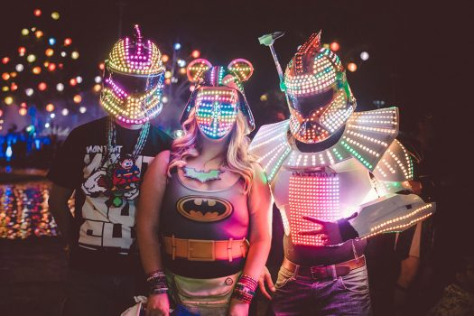 Headliners in glowing masks