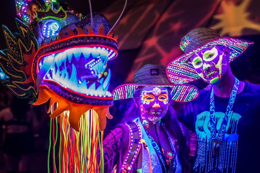 Headliners in black-light makeup