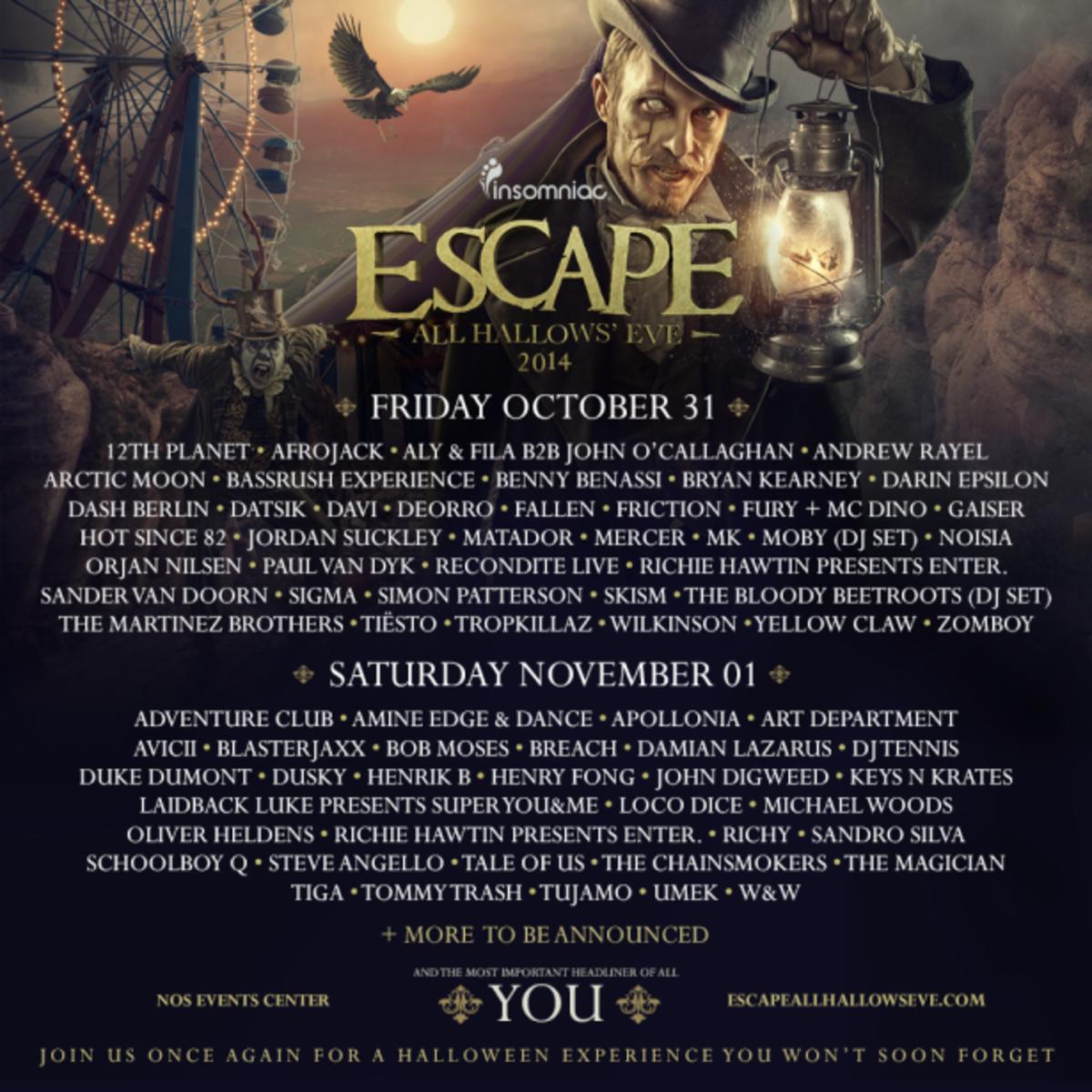 Escape 2014 lineup